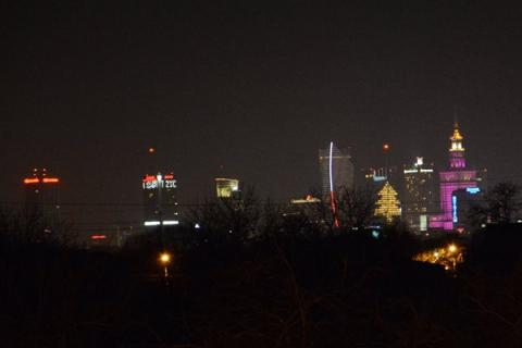 Warszawa nocą Polska