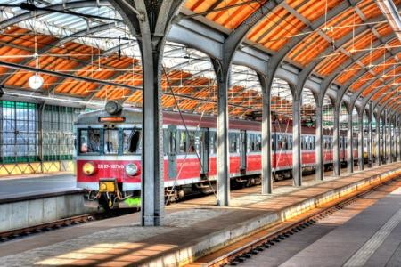 Railway station in Breslau Poland